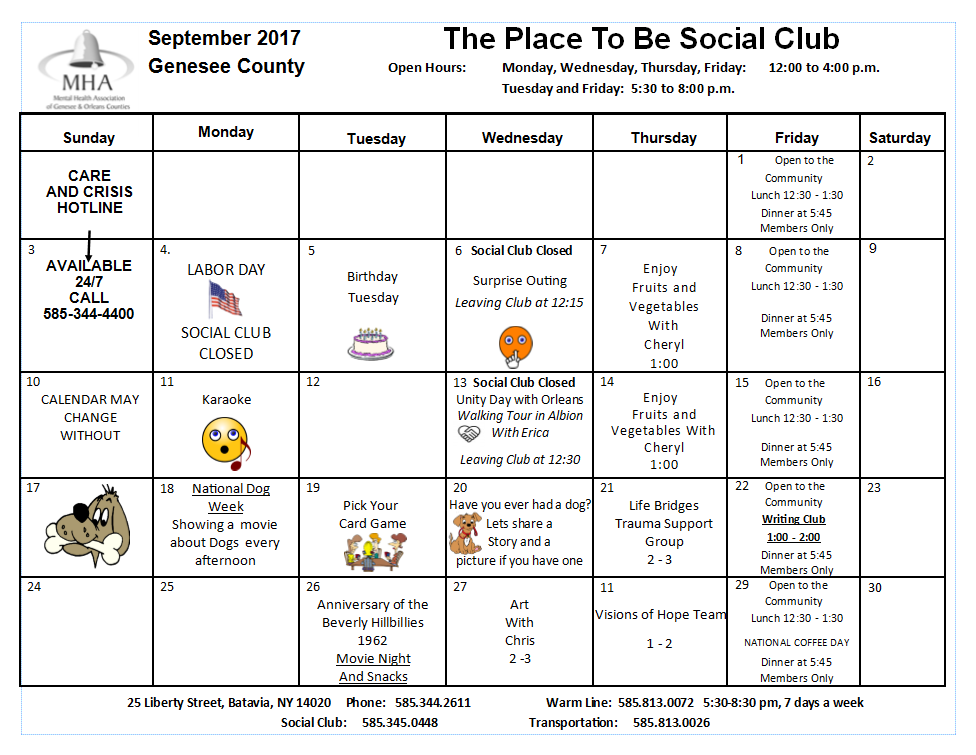 Club Calendars Mental Health Association